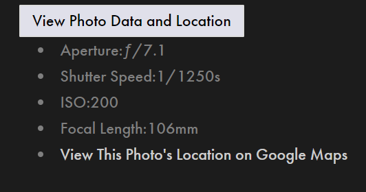 Basic EXIF data on 75CentralPhotography.Com